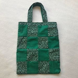Handmade Green Floral Tote Bag Patchwork Lined NEW